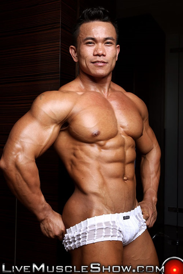 Hot trisome asian naked bodybuilder men fucking after orgasm