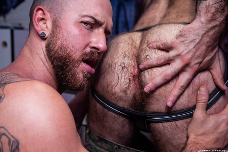 Men for Men Blog Teddy-Bear-Nigel-March-naked-Hairy-hunk-fucked-huge-cock-at-Raging-Stallion-008-gay-porn-pictures-gallery Horny stud Teddy Bear rolls over on his back and lets Nigel March slam his ass Raging Stallion